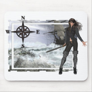 Pirate Woman with Rough Waters Designs Mouse Pad