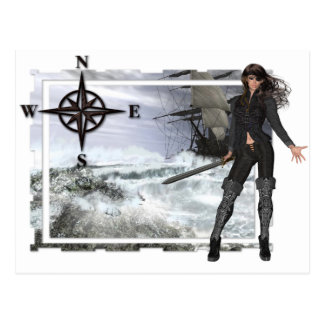 Pirate Woman with Rough Waters Designs Postcard