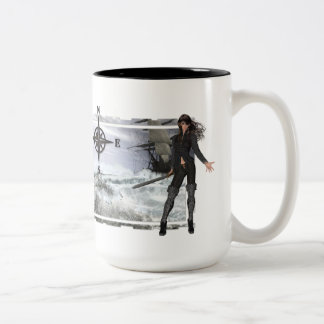 Pirate Woman with Rough Waters Designs Two-Tone Coffee Mug