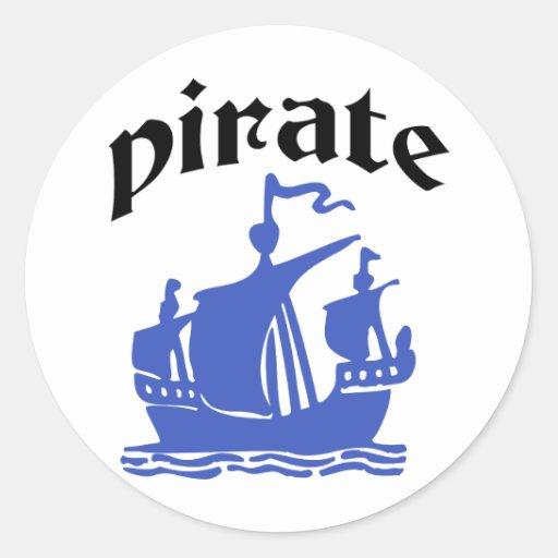 ¡Piratea diseño original! Etiqueta Redonda