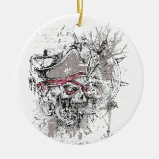 pirated dead skull vintage design ceramic ornament