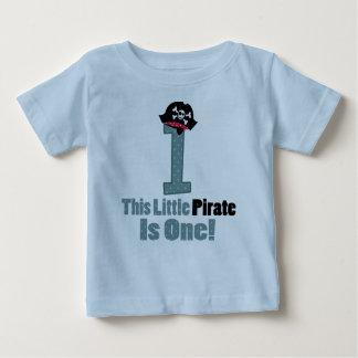 Piratee la 1ra primera camiseta del bebé del poleras