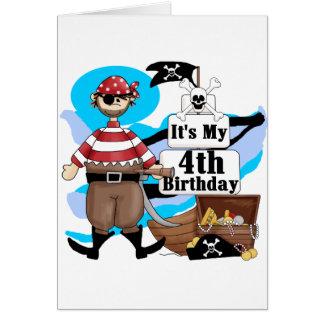 Piratee las 4tas camisetas y regalos del cumpleaño tarjeta de felicitación