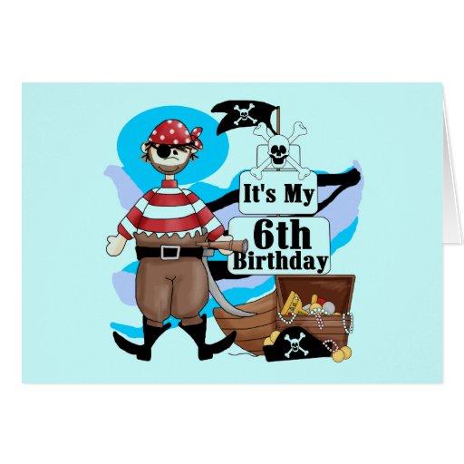 Piratee las 6tas camisetas y regalos del cumpleaño felicitación