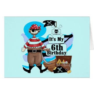 Piratee las 6tas camisetas y regalos del cumpleaño tarjeta de felicitación