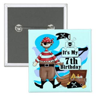 Piratee las 7mas camisetas y regalos del cumpleaño pin cuadrado
