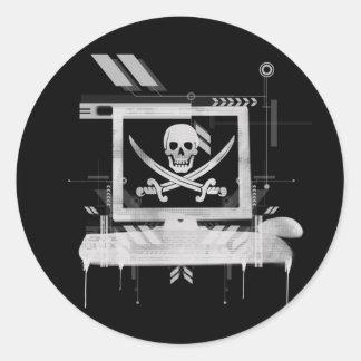piratehack pegatina redonda