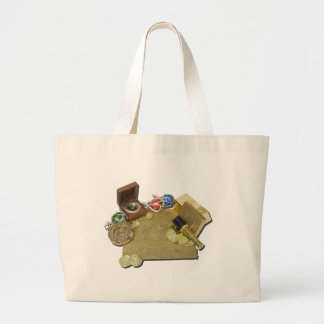 PirateMapGoldCoinsBarTelescopeCompass101115.png Large Tote Bag