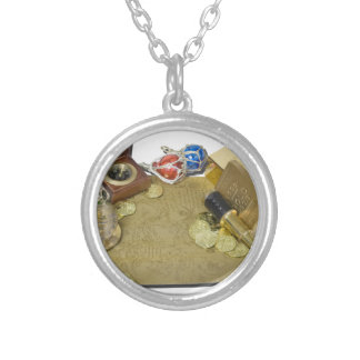 PirateMapGoldCoinsBarTelescopeCompass101115.png Silver Plated Necklace