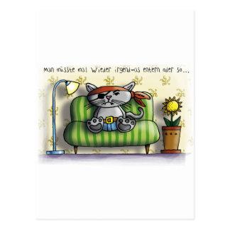 Piratenkatze couch postkarten