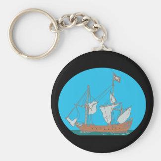 Piratenschiff corsair llavero redondo tipo pin