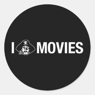 pirateo películas pegatina redonda