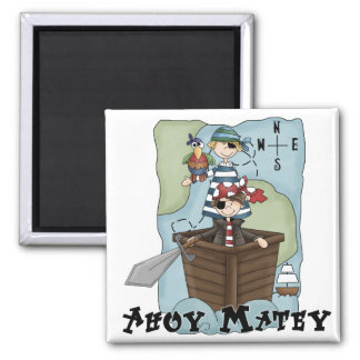 Pirates Ahoy Tshirs and Gifts 2 Inch Square Magnet