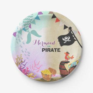 Pirates and Mermaids Party Paper Plates Girl Boy  sc 1 st  Zazzle & Pirate Plates | Zazzle