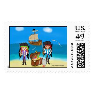 Pirates and Treasure Postage Stamp