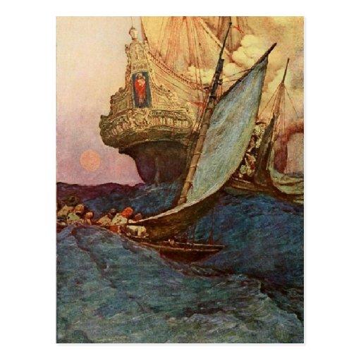 Pirates at Sea Post Cards