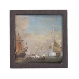 Pirates attack an English naval vessel painting Keepsake Box