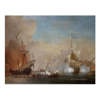 Pirates attack an English naval vessel painting Postcard