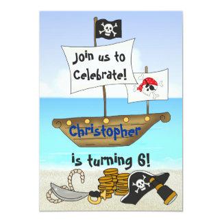 Pirates Beach Birthday Invitation for Boys
