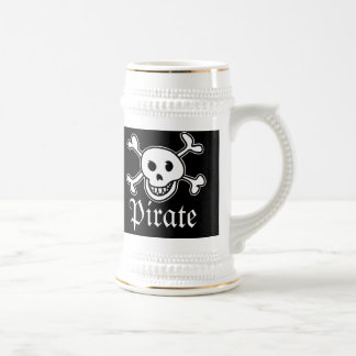 Pirates beer mug with skull and cross bones image