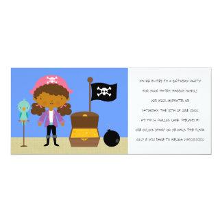 "Pirates Birthday Party Invitations (for girls) 4"" X 9.25"" Invitation Card"