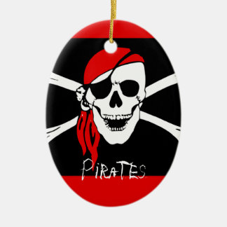 Pirates - Black and Red Pirate Skull Ceramic Ornament