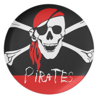 Pirates - Black and Red Pirate Skull Party Plate
