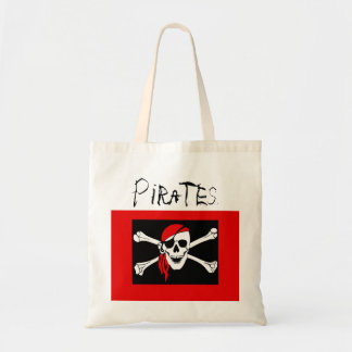 Pirates - Black and Red Pirate Skull Tote Bag