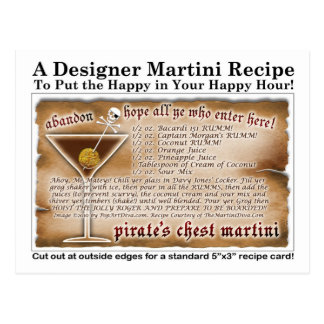Pirate's Chest Martini Recipe Card Postcard