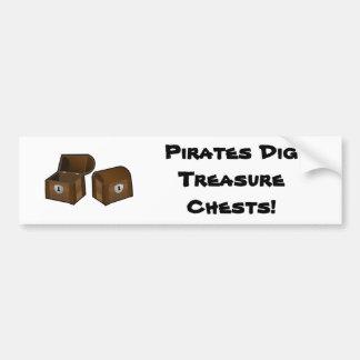 Pirates Dig Treasure Chests Bumper Sticker