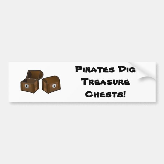 Pirates Dig Treasure Chests Bumper Sticker