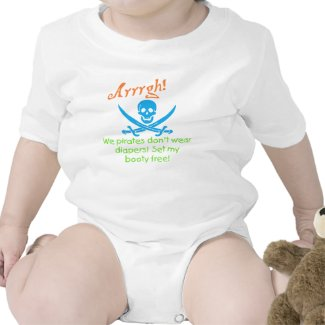 Pirates don't wear diapers skull and crossbones tshirt