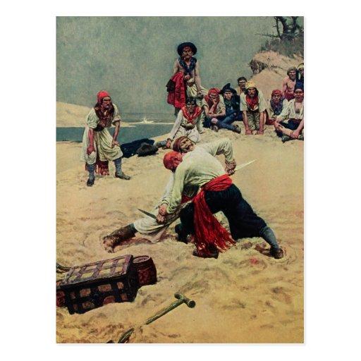 Pirates Fight Over Treasure Postcard