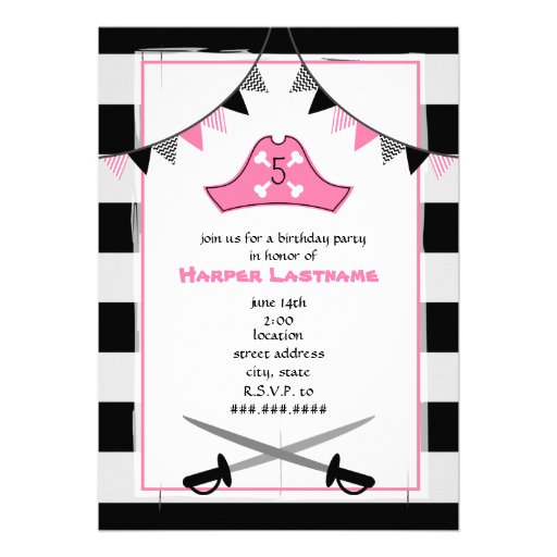 Pirate's Hat + Swords Birthday Party Invite - Pink