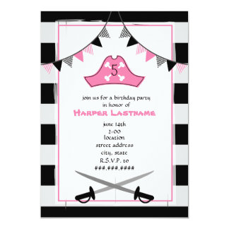"""Pirate's Hat + Swords Birthday Party Invite - Pink 5"""" X 7"""" Invitation Card"""