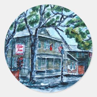 pirates house savannah georgia watercolor painting round sticker