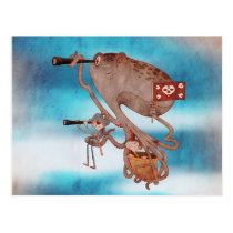 Pirates. Imagination and fantasy, cute and lovely. Postcard