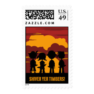 Pirates in Silhouette at Sunset Postage Stamp
