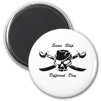 Pirates Jolly Roger Same Ship Different Day Fridge Magnets