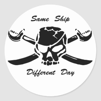 Pirates Jolly Roger Same Ship Different Day Round Stickers