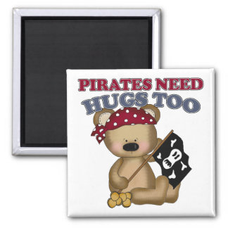 Pirates Need Hugs Too 2 Inch Square Magnet