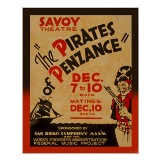 Pirates Of Penzance Vintage 1938 WPA Poster