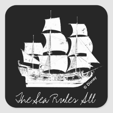 Disney Themed Pirates of the Caribbean 5   The Sea Rules All Square Sticker