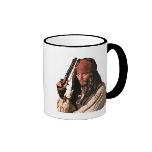Pirates of the Caribbean Jack Sparrow with Gun Ringer Coffee Mug