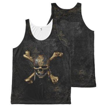 Disney Themed Pirates of the Caribbean Skull & Cross Bones All-Over-Print Tank Top