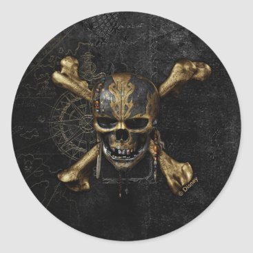 Disney Themed Pirates of the Caribbean Skull & Cross Bones Classic Round Sticker