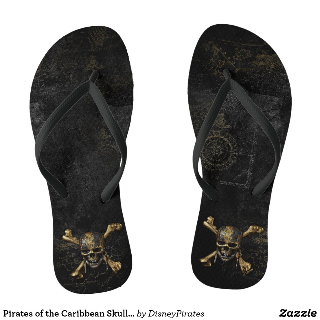 Pirates of the Caribbean Skull & Cross Bones Flip Flops
