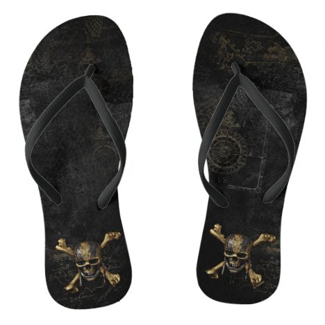 Pirates of the Caribbean Skull & Cross Bones Flip Flops