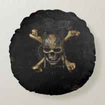 Pirates of the Caribbean Skull & Cross Bones Round Pillow