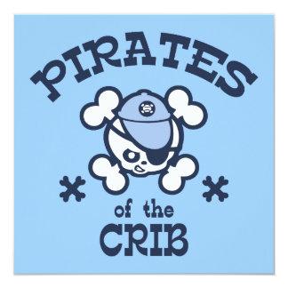 Pirates of the Crib 5.25x5.25 Square Paper Invitation Card